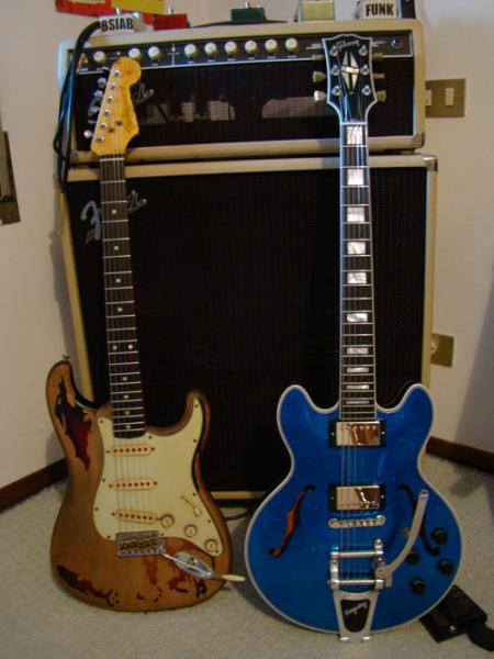 Fender Custom Shop Rory Gallagher Straocaster paired with my Gibson Custom Shop 359
